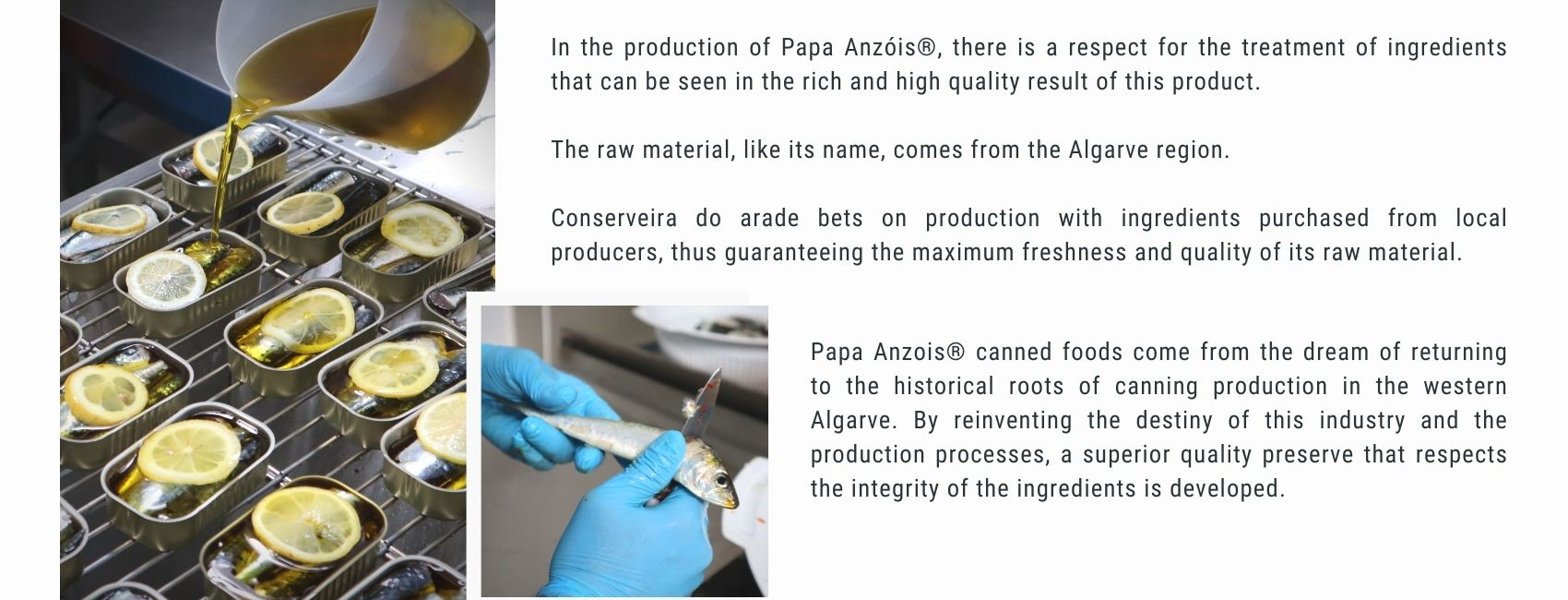 In the production of Papa Anzóis®, there is a respect for the treatment of ingredients that can be seen in the rich and high quality result of this product.  The raw material, like its name, comes from the Algarve region.  Conserveira do arade bets on production with ingredients purchased from local producers, thus guaranteeing the maximum freshness and quality of its raw material.