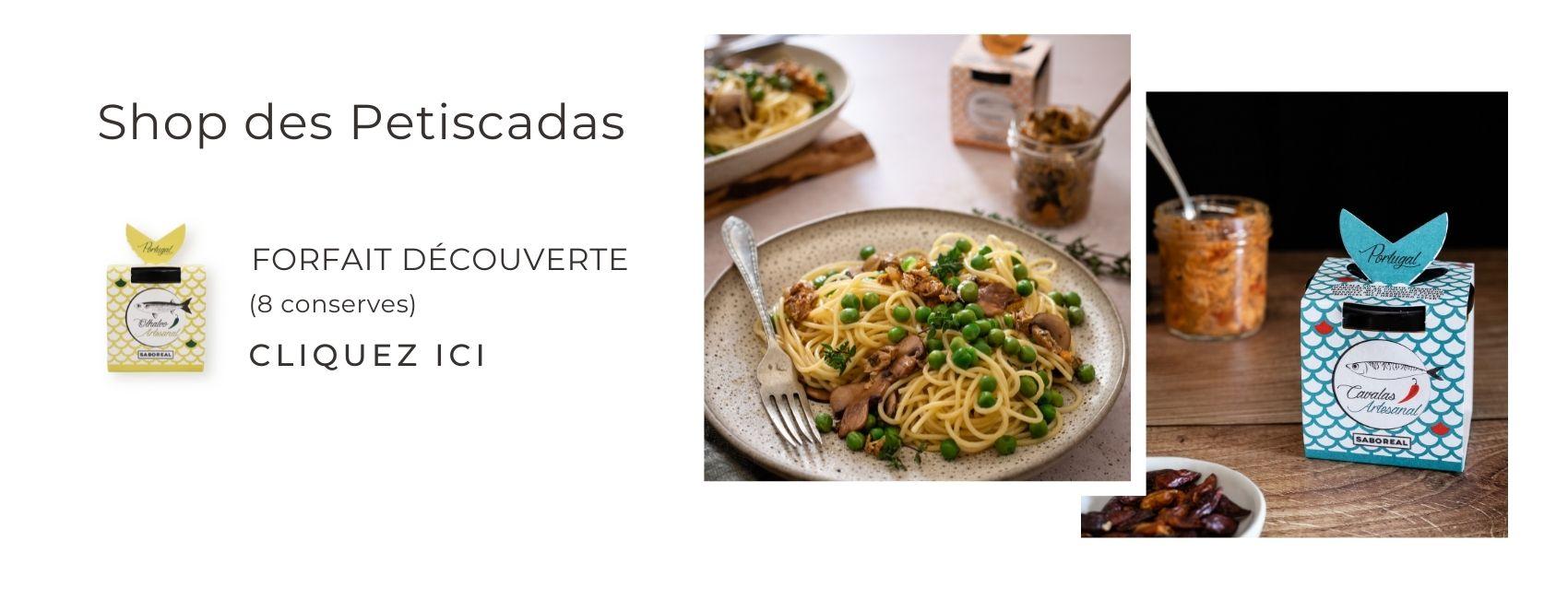 Forfait découverte (8 conserves) - Assortiment en conserve, en bocal en verre, à base de poisson râpé avec légumes et condiments de l'Algarve. Petiscadas.