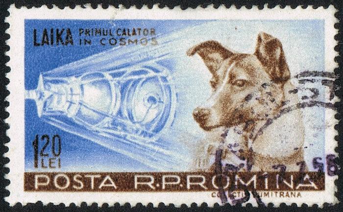 (Estampilla de Laika, la perra cosmonauta)