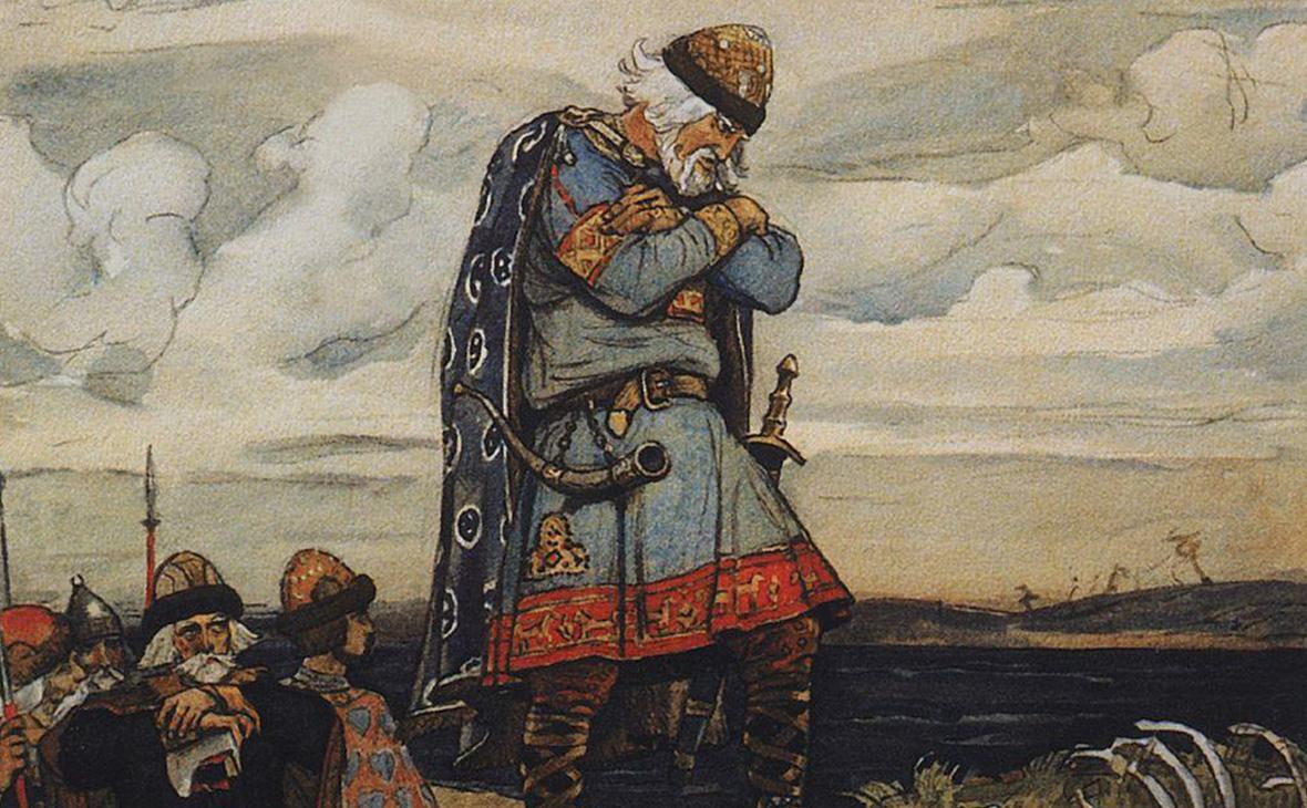 """(Pintura representativa de Oleg de Nóvgorod, del pueblo de los """"Rus"""")"""